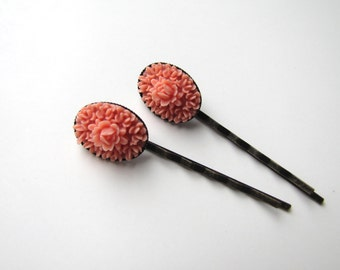 Salmon Pink Flower Bobby Pins, Salmon Pink Floral Hairpins