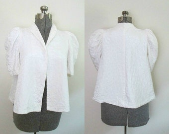 Vintage Bride Wedding / Quilted Antique White Swing Jacket / 1930s 1940s