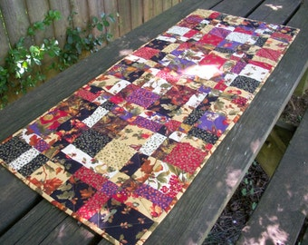 Fall Table Runner Autumn Handmade Quilted Quiltsy Handmade FREE U.S. Shipping