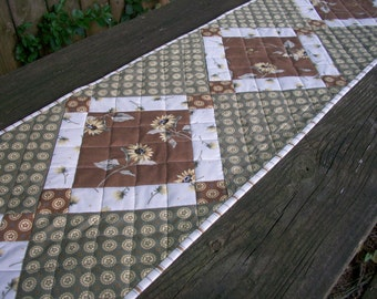 Sunflower Table Runner Quilted Full Sun Green Brown Cream Quiltsy Handmade FREE U.S. Shipping