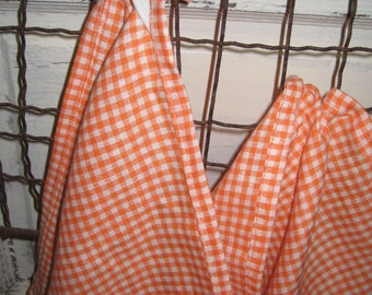 Pair of  Orange and White Gingham Linen Dish Towels-Orange Gingham Linen Hand Towels-Orange Linen Basic Hand Towels