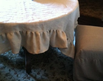 Oyster White Linen Style Burlap Ruffled Tablecloth-55 Inch Square Tablecloth with 6 Inch Ruffles-Custom Burlap Tablecloth-Holiday Linens