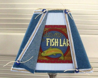 Denim Fishing Lamp Shade for Log Cabin, Cottage or your own Man Cave