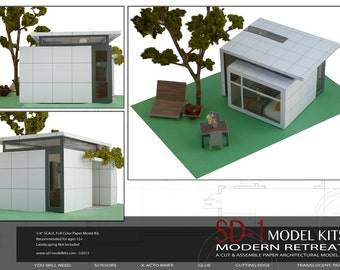 Modern Retreat. A Cut & Assemble Paper Architectural Model Kit