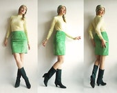 LiMeLiGHT Vtg Leather Suede Skirt Pencil Style with Gold Zippers Front Pockets in Sumptuous Lime Green Super Velvety Leather/Suede Size S