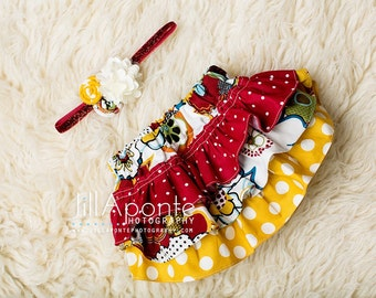Cream, burgundy, and mustard ruffle bloomers diaper cover with matching headband for newborn baby infant