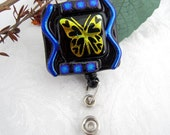 Fused Glass Badge Holder - Name badge - Badge reel - Retractable reel - butterfly jewelry 12043