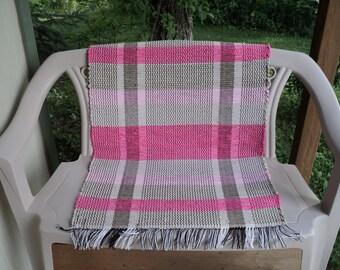 Pink and Tan Hand Woven Rag Rug