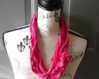 Jersey Scarf Necklace with Rosettes in Hot Pink