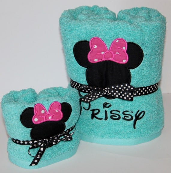 Minnie Mouse Bath And Hand Towel Personalized By