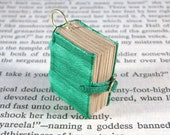 Miniature Book Necklace Charm Mini Leather Thick Book Charm with Working Buckle Green