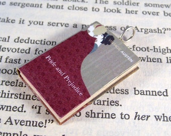 Miniature Classic Novels Book Necklace Charm Vintage Pride and Prejudice