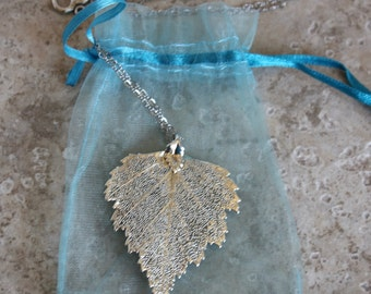 Silver dipped leaf on rodium chain