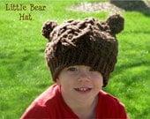 Little Bear Hat, Bear crochet, Girl crochet hat, Boy crochet hat, Bear Hat, Winter bear hat, Cabled Bear hat