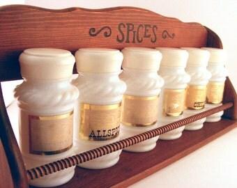 Vintage Milk Glass Spice Jars - Glass Shakers - Spice Jar Rack - Set of Eagle Spice Shakers - Set of 6 - Retro Kitchen Decor - Vintage Chef