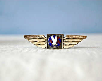 American Airlines Souvenir Lapel Pin 1930s 1940s Aviation Wings Pin Sterling Silver Enamel Logo Flying Memorabilia Flight Stewardess Uniform