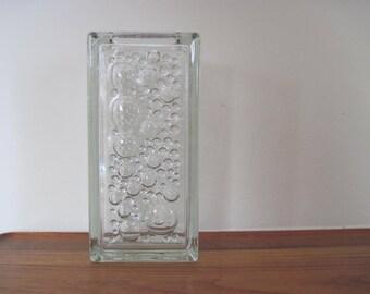 vintage 1950s Glass BUBBLE Block Vase, mcm - glass brick, architectural,  planter, rectangular,  unsigned, polka dots, mod, modernist