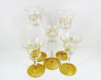 Candle Tea Light Holders Gold Leaves Hand Painted Set of 5