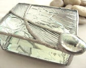 Clear Glass Textures and a large Glass Nugget Hand Crafted Stained Glass Jewelry Trinket Box