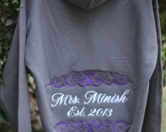 UNISEX Fit Pullover Sweatshirt Personalized Just For You - Mrs, Soon to Be, Future Mrs, Bride, etc. - Makes A Great Gift!