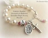 Catholic Baby/Toddler Birthstone Personalized Baptism Guardian Angel Rosary Bracelet