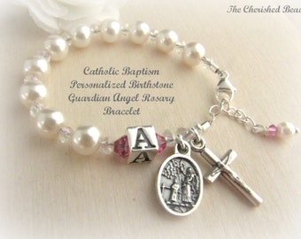 Catholic Baby/Toddler Birthstone Personalized Baptism Guardian Angel Rosary Bracelet