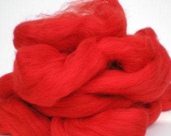 "Ashland Bay Solid Colored Merino for Spinning or Felting ""Tomato""  4 oz."