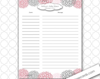 Wedding Gift Record Book Template : Dahlia Baby or Bridal Shower Guest Sign In and Baby Advice Sheet ...
