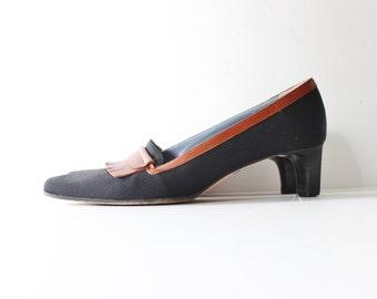 Vintage 80s SESTO MEUCCI Fringe Heels - Black Fabric Brown Leather- Stacked Heel Women 8 Narrow
