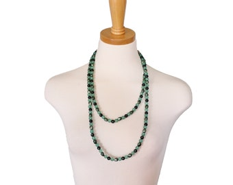 Vintage 60s LUCKY Beads Single Strand Plastic Bead Green Necklace - Long