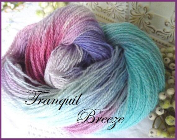 SALE Handspun wool sport weight sock yarn handpainted Tranquil Breeze homegrown wool