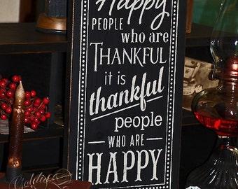 Happy People, Chalkboard Art, Typography,Word Art, Primitive Wood Wall Sign