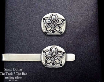 Sand Dollar Tie Tack or Sand Dollar Tie Bar / Tie Clip Sterling Silver