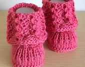 Knitting Pattern (PDF file)  Lace Cuff Baby Booties (sizes 0-6/6-9/9-12 months)