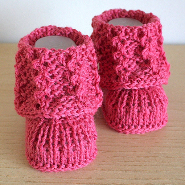 Lace Baby Booties Knitting Pattern : Knitting Pattern PDF file Lace Cuff Baby Booties sizes