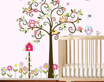 Swirl Daisy Flower Tree with Owls and Birds Baby Nursery Vinyl Wall Decal Swirl Tree