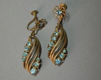 Vintage Aqua Dangle Earrings