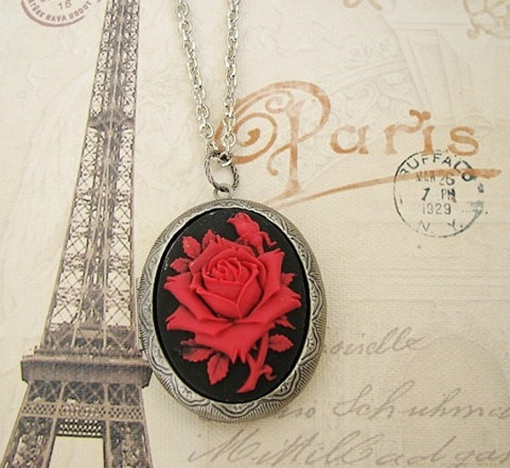Large Cameo Locket Valentines Day Red & Black Rose Mother Daughters Birthday Gift Wedding Bride Bridesmaid Wife Photo Pictures - Demi