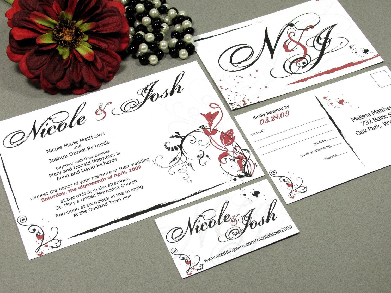 Calligraphy Wedding Invitations: Wedding Invitation Set Modern Wedding Invitations Calligraphy