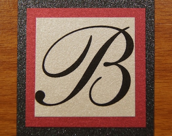 Monogram Invitation Seals - CUSTOMIZED SAMPLE - Metallic Cardstock - Three Layer - Alpha - Many Options!