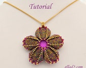 Tutorial Morning Glory Pendant - Beading Pattern PDF