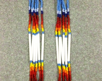 "Native American Style 7"" Long Blue  Beaded Earrings"