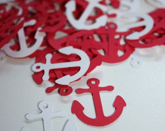 200 pieces Anchor Die Cut Confetti Table Decor  - red and white