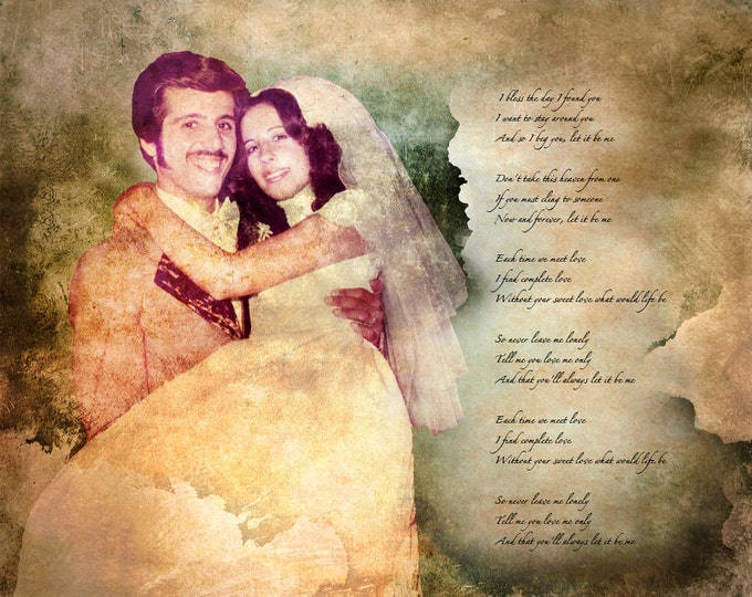 Parents Anniversary Gift Birthday Gift  Wedding Decoration Custom Personalized Wedding Vows Song Lyrics Photo Gift Canvas 20x24