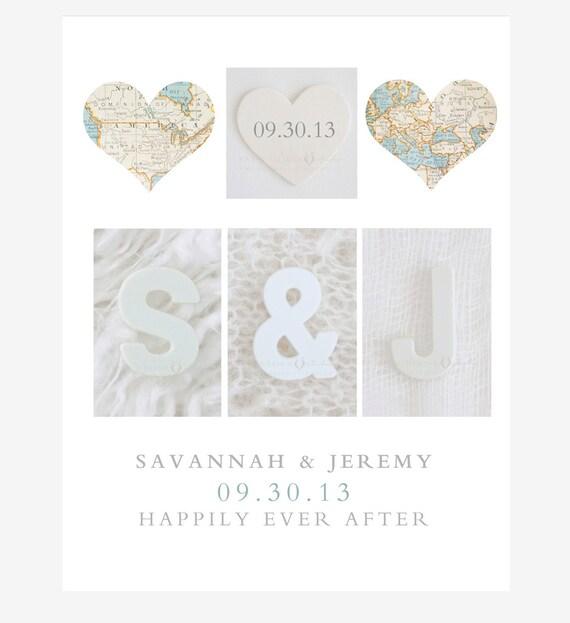 Wedding Gifts For Couples Who Like To Travel : Keepsake Map Art Print Wedding Gift Heart Map Wedding Date
