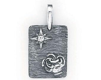 Aquarius  Zodiac Pendant  Sterling Silver  505-11