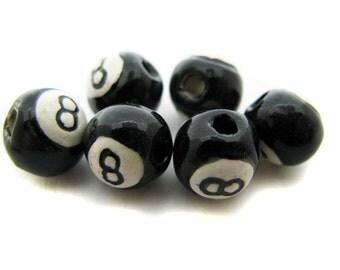 10 8 Ball Beads - Small (8-9mm) - ceramic, peruvian, large hole, sports