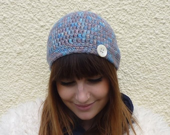 SALE ....100% ALPACA Beanie / cloche / toque .'Singing the Blues'....Ready to ship.....