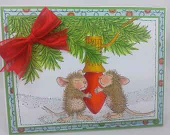 Mouse Christmas Light- Blank NoteCard, Greetings Card, Handmade Card