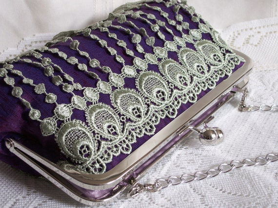 Handmade lace embellished silk shoulderbag, clutch handbag. Purple, blue, green. DANCE by Lella Rae on Etsy